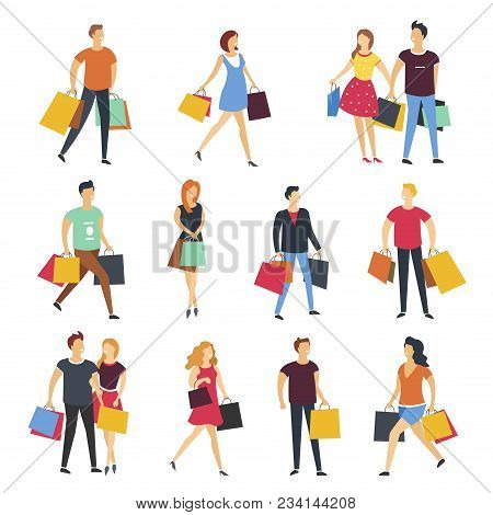 People Shopping With Shopping Bags. Vector Cartoon Flat Isolated Icon Of Man And Woman Young Couple