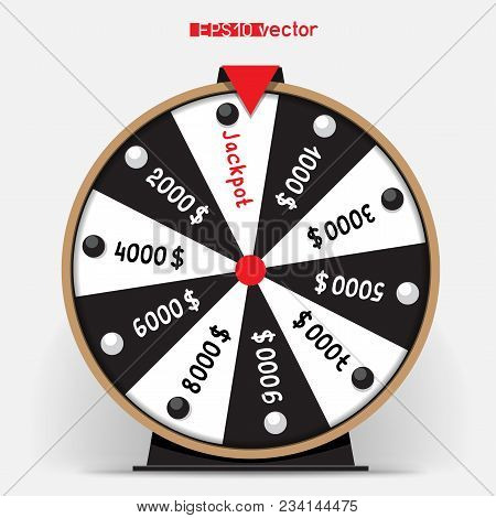 Black And White Ten Segmentation Fortune Wheel Lottery Object. Gamble Jackpot Prize Spin With Shadow
