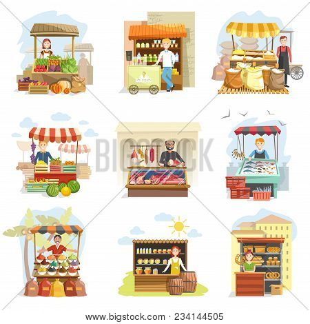 Street Vendor Booth And Farm Market Food Counters With Fruis Or Vegetables, Sweets And Butchery Meat