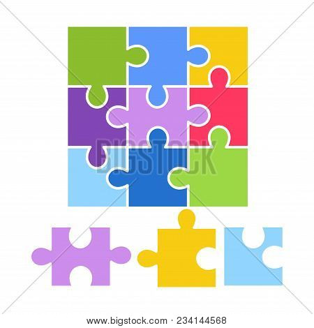 Kid Toy Puzzle Picture Game. Children Puzzle Constructor Plaything Vector Flat Isolated Icon For Kin