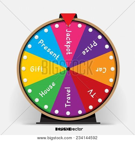Eight Segmentation Fortune Wheel Lottery Object. Gamble Jackpot Prize Spin With Shadow. Round Drum C