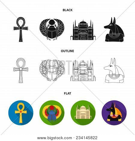 Anubis, Ankh, Cairo Citadel, Egyptian Beetle.ancient Egypt Set Collection Icons In Black, Flat, Outl