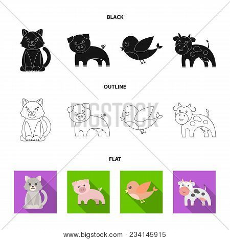 An Unrealistic Black, Flat, Outline Animal Icons In Set Collection For Design. Toy Animals Vector Sy
