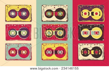 Set Of Retro Audio Cassettes, Pop Art Style. Vector Image.