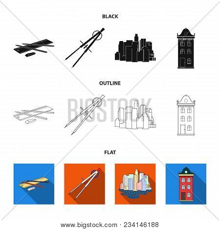 Drawing Accessories, Metropolis, House Model. Architecture Set Collection Icons In Black, Flat, Outl