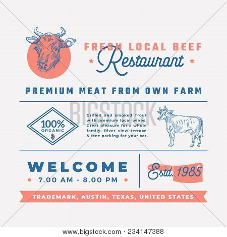 Fresh Local Beef Restaurant Signs, Titles, Inscriptions And Menu Decoration Elements Set. Premium Qu