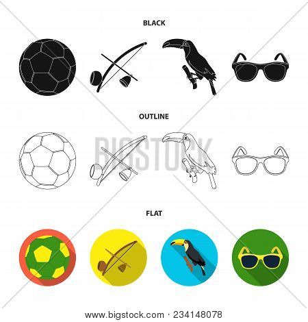 Brazil, Country, Ball, Football . Brazil Country Set Collection Icons In Black, Flat, Outline Style