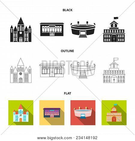 House Of Government, Stadium, Cafe, Church.building Set Collection Icons In Black, Flat, Outline Sty