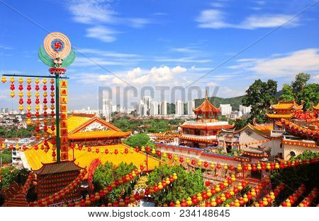 Aerial view on Buddhist temple Kek Lok Si  (The Temple of Supreme Bliss) and Georgetown, Penang island, Malaysia