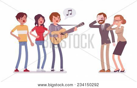 Annoying Music Conflict. Group Of Young People With Guitar And Middle Aged People In Stress With Lou