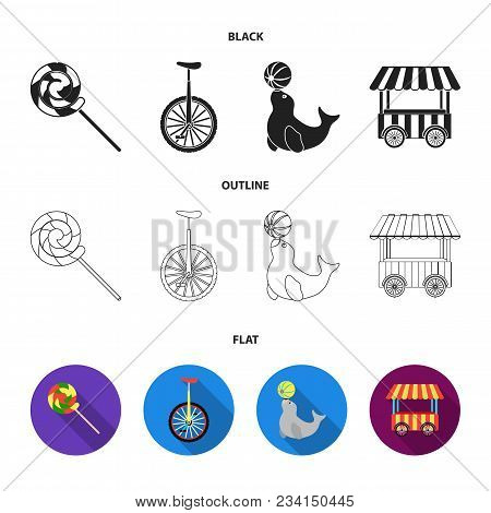 Lollipop, Trained Seal, Snack On Wheels, Monocycle.circus Set Collection Icons In Black, Flat, Outli