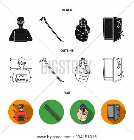 Photo Of Criminal, Scrap, Open Safe, Directional Gun.crime Set Collection Icons In Black, Flat, Outl