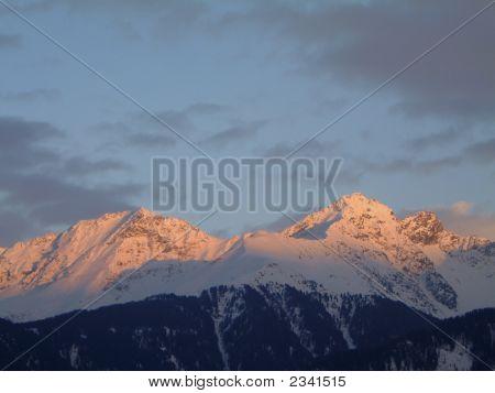 Winter Sunset In The Austrian Alps