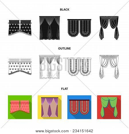 Curtains, Stick, Cornices, And Other  Icon In Black, Flat, Outline Style.bow, Fabric Tulle Icons In
