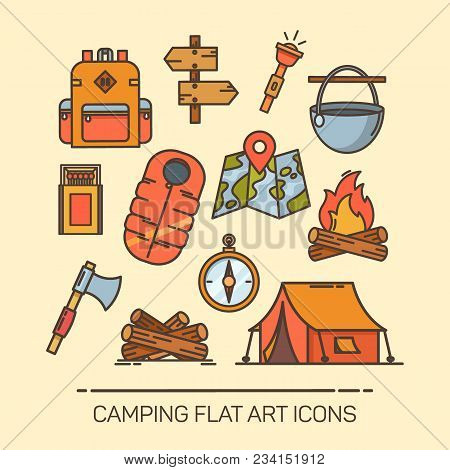 Set Of Isolated Summer Camping Icons. Signs Of Tent And Bag, Backpack And Lantern, Map And Direction
