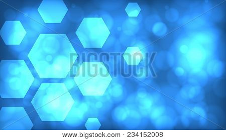 Blue Abstract Techno Background With Hexagons And Glowing Sparks. Eps10 Vector.