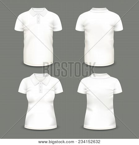 Set Of Isolated Woman And Man Polo Shirts With Short Sleeve And Collar. Casual Cotton Unisex Uniform