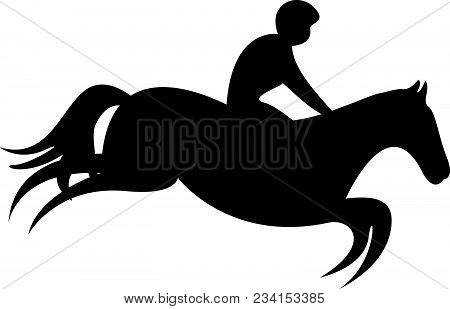 Simplified Horse Race.  Equestrian Sport. Silhouette Of Racing Horse With Jockey. Jumping. Third Ste