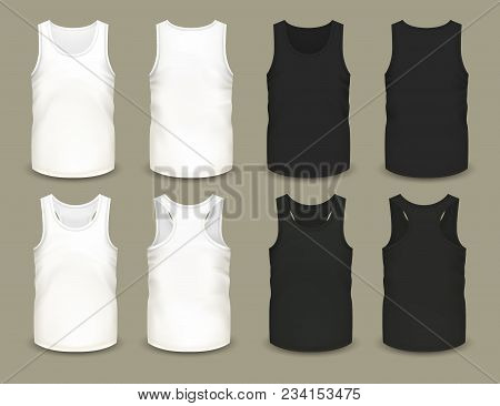 Set Of Isolated Sleeveless Male Sport Shirts Or Men Top Apparel. Mockup Of Guy T-shirt Sportswear. F