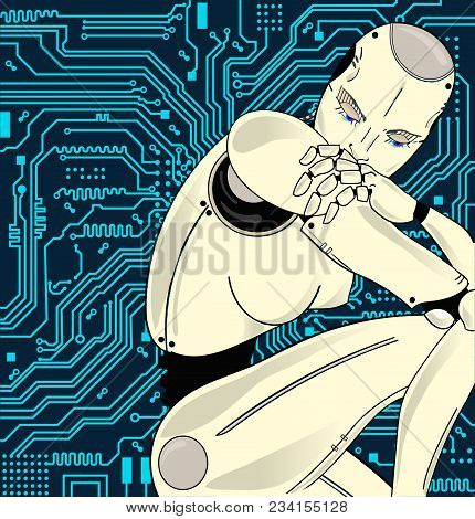 Female Robot With Artificial Intelligence, Sits Pensively On The Background Of Circuit Board. Can Il