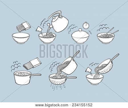 Step By Step Instant Noodle And Pasta Cooking Instructions, Isolated Black And White Sketch Style Ve