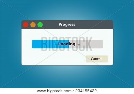 Loading Data Window With Progress Bar. Can Be Used To Illustrate The Topics Associated With Large Da