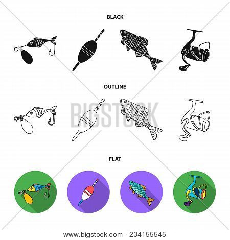 Fishing, Fish, Catch, Hook .fishing Set Collection Icons In Black, Flat, Outline Style Vector Symbol