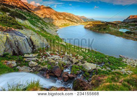 Majestic Summer Landscape, Spectacular Waterfall With Alpine Glacier Lake, Retezat Mountains, Carpat