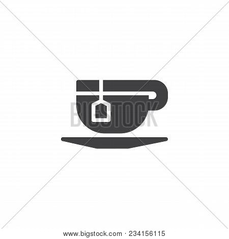 Tea Cup With Tea Bag Vector Icon. Filled Flat Sign For Mobile Concept And Web Design. Cup Of Tea Sim