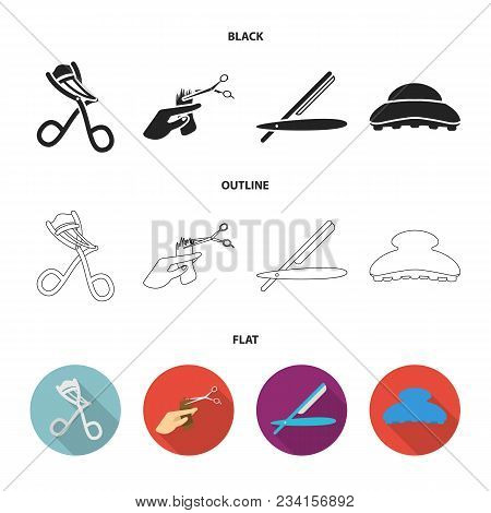 Scissors, Brush, Razor And Other Equipment. Hairdresser Set Collection Icons In Black, Flat, Outline