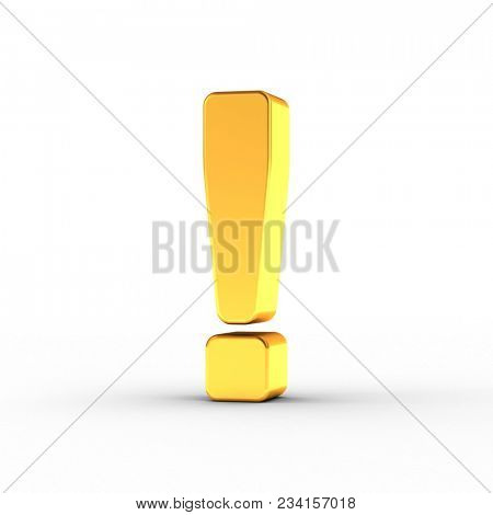 3D illustration of the exclamation mark symbol as a polished golden object over white background with clipping path for quick and accurate isolation.