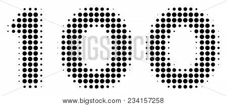 100 Text Halftone Vector Icon. Illustration Style Is Dotted Iconic 100 Text Icon Symbol On A White B