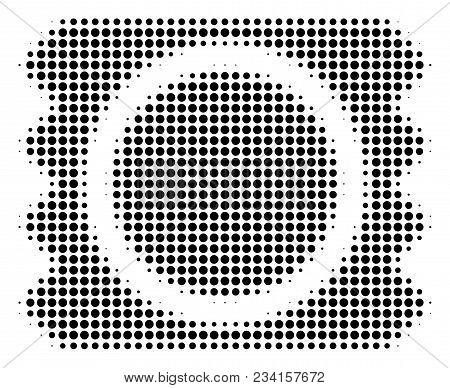 Condom Package Halftone Vector Icon. Illustration Style Is Dotted Iconic Condom Package Icon Symbol