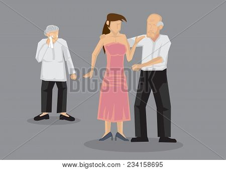 Old Man Dating Sexy Young Woman And Abandon Wife. Vector Illustration On Extramarital Affairs And In