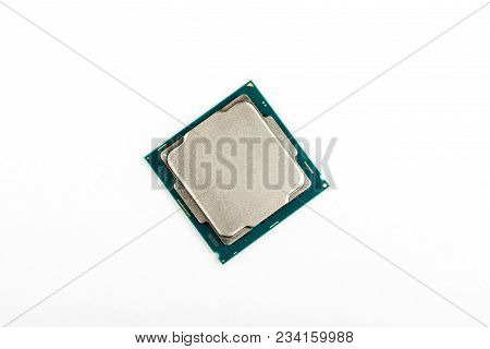 Processor On A White Background. Processor Close-up. Cpu