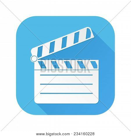 Movie Filming. White Sign On Blue Square Icon. Vector Illustration Isolated On White Background