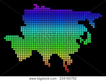 A Dot Asia Map. Vector Geographic Map In Bright Spectrum Colors On A Black Background. Colorful Vect