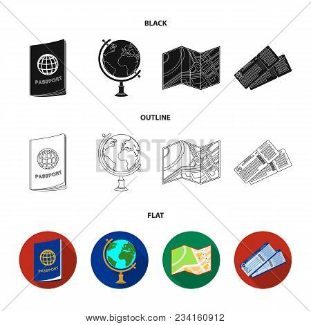 Vacation, Travel, Passport, Globe .rest And Travel Set Collection Icons In Black, Flat, Outline Styl