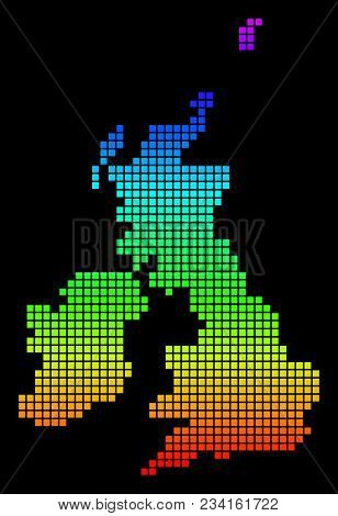 A Dot Great Britain And Ireland Map. Vector Geographic Map In Bright Spectrum Colors On A Black Back