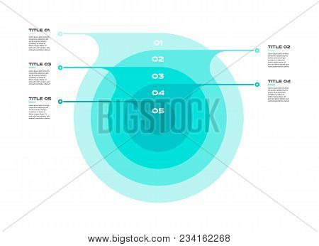 Concentric Infographics Step By Step In A Series Of Circle. Element Of Chart, Graph, Diagram With 5