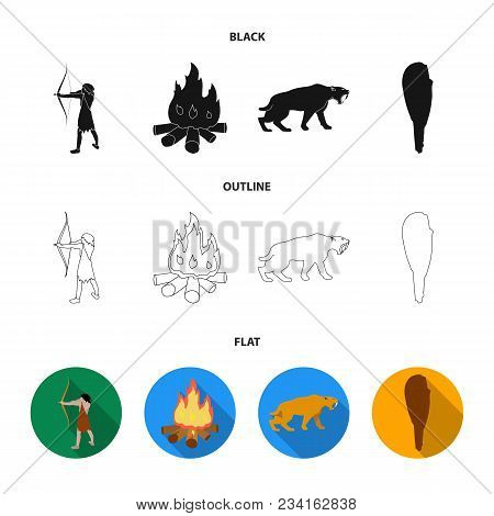 Man, Hunter, Onion, Bonfire .stone Age Set Collection Icons In Black, Flat, Outline Style Vector Sym