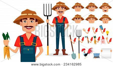 Farmer Cartoon Character Creation Set. Cheerful Gardener, Pack Of Body Parts And Emotions. Build You