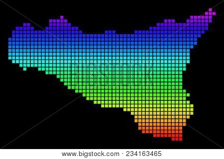 A Dot Sicilia Map. Vector Geographic Map In Bright Spectrum Colors On A Black Background. Color Vect