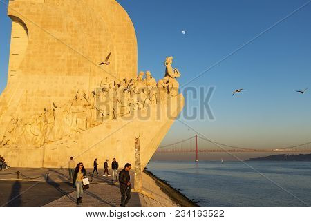 Lisbon, Portugal - January 10, 2017: People Enjoying The Sunset Near The Monument To The Discoveries
