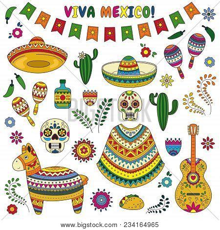 Cartoon Doodle Collection Objects For Cinco De Mayo Parade With Pinata, Maracas, Sambrero, Tequila,