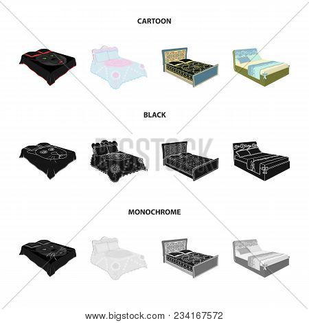 Different Beds Cartoon, Black, Monochrome Icons In Set Collection For Design. Furniture For Sleeping