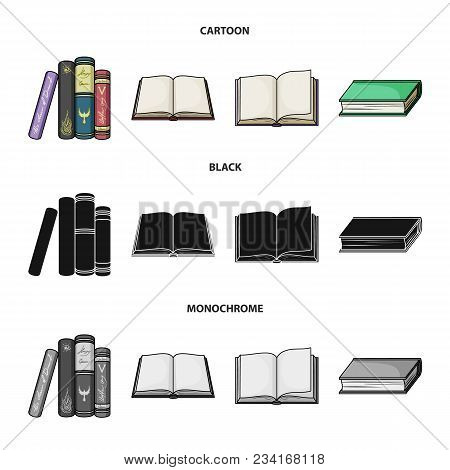 Various Kinds Of Books. Books Set Collection Icons In Cartoon, Black, Monochrome Style Vector Symbol