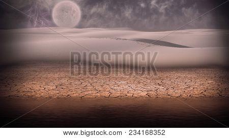Surreal digital art. Desert shore. Storm and lightning. Full moon at the horizon. 3D rendering