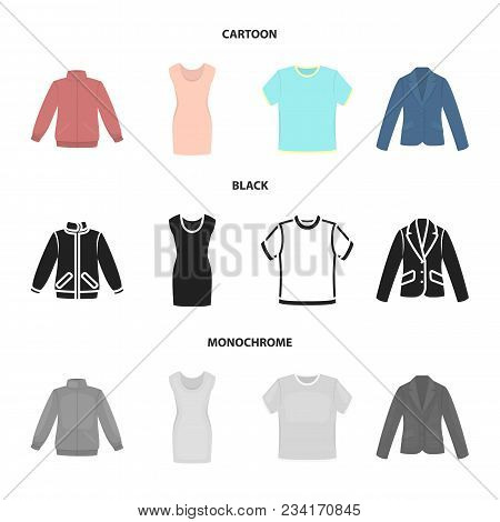 A Mans Jacket, A Tunic, A T-shirt, A Business Suit. Clothes Set Collection Icons In Cartoon, Black,