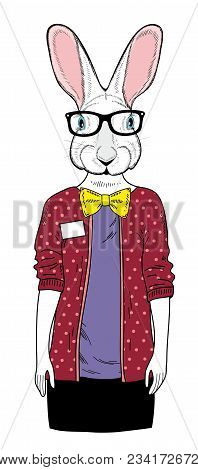 Cute Female Rabbit. Vector Illustration Of Young Animal.